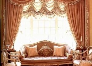 Французские шторы, интерьер современной квартиры с французскими шторами