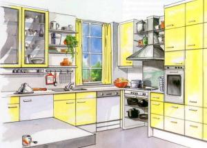 Contoh tata letak dapur: proyek dapur, dapur di rumah pribadi, di apartemen. Tata letak dapur kecil, dapur di Khrushchev, dapur besar, dapur dengan balkon.