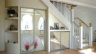 Встроенный шкаф под лестницей в частном доме, варианты встроенного шкафа под лестницей, монтаж своими руками