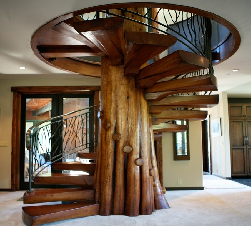 rustic_spiral_wood_stairs