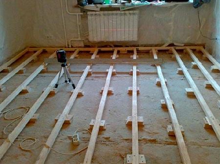 Установка лагов на бетон