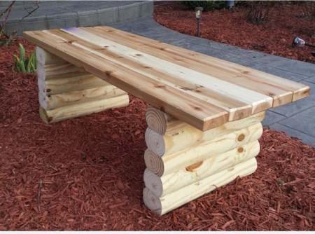 место за клупата на градината