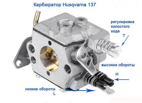 husqvarna137 namještanja ugljikohidrata