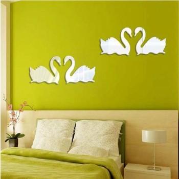 Топло-продажба-Dual-Сребро-Swan-Дизајн-3D-огледало-DIY-Налепници ѕид-Home спални дневна соба-Office подарок