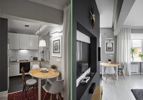 Зонирование-кухни-студии-с-помощью-потолочных-балок-2