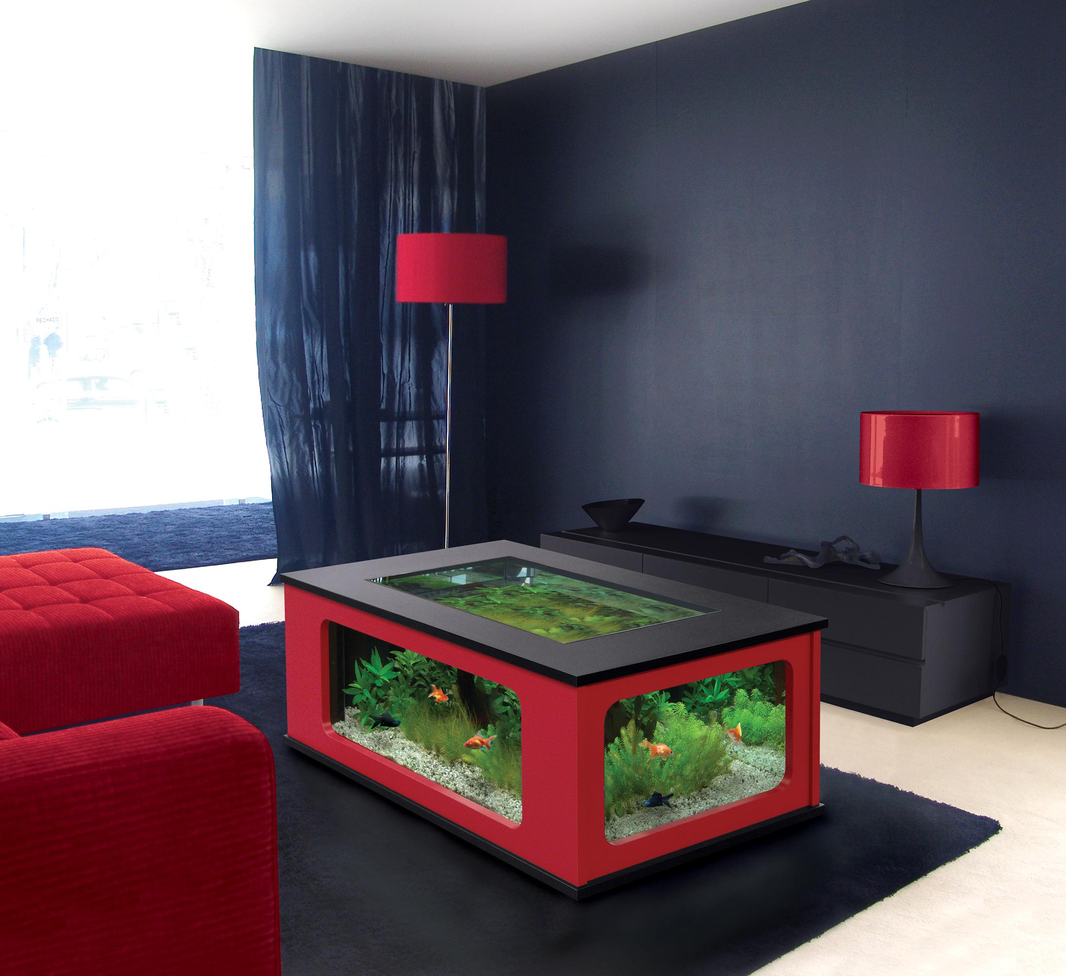 Table basse salon aquarium aulne - Table salon aquarium ...