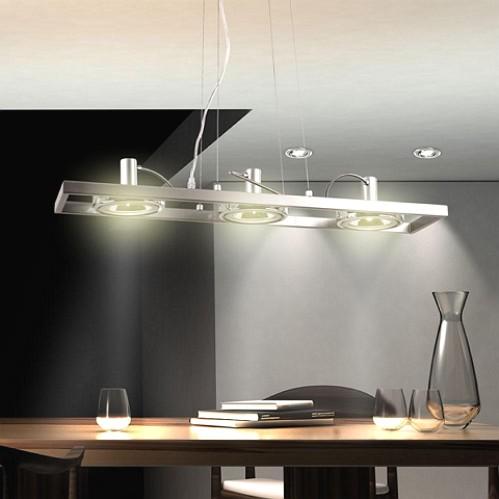 decken-pendel-hnge-Lampe-3 Strahela-točka-leuchte-Chrom-Globo-5645-3h