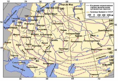 Peta kedalaman pembekuan tanah