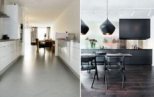 लिनोलियम में आंतरिक-रसोई-इन-शैली, उच्च तकनीक और अतिसूक्ष्मवाद
