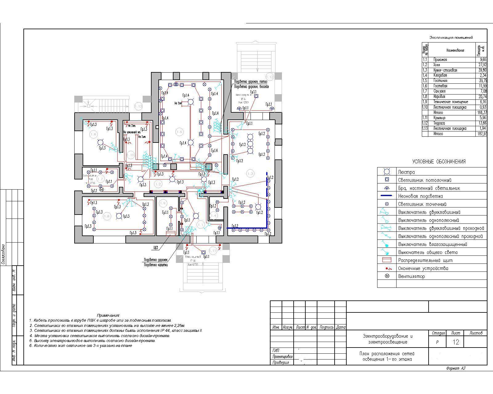 Линейная схема электроснабжения двухкомнатной квартиры